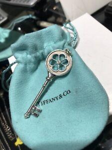 Tiffany & Co Key Charm Diamond Blossom Flower XL Sterling Silver Pendant
