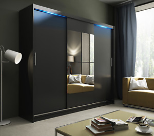AVA 1.4 - 3 SLIDING DOOR WARDROBE WITH LED LIGHTS, ASSEMBLY INCLUDED IN PRICE