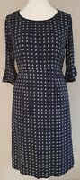 Womens Monsoon Straight Fitted Dress navy blue spotted frill sleeves viscose 10.