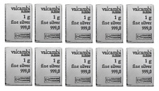 Lot Of 10 - Valcambi Silver 1 Gram Suisse Bar .999 Fine Silver