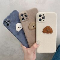 Lovely Cute Relief Dog Phone Case Warm Furry Plush Cover For iPhone 12 11 8 X XS