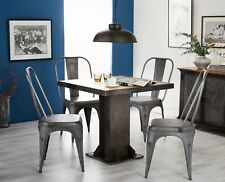 Industrial Evoke Iron / Wooden Industrial Square Dining Table and 4 chairs