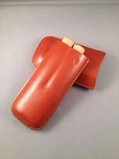 Tan Leather Cigar Case - CORONA Size - 2 Finger