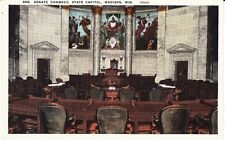 MADISON WISCONSIN STATE CAPITOL SENATE CHAMBER - OLDER Vintage PICTURE POSTCARD