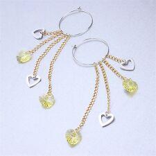 18K White & Yellow Gold Filled Crystal Earrings (E-140)