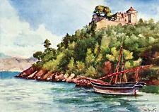 Portofino: Castello Brown. Tigullio. Genova. Stampa Antica + Passepartout. 1907