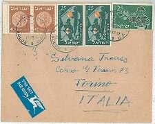Monete-STORIA POSTALE Israele: Airmail copertura ALL' ITALIA 1955-overfranked