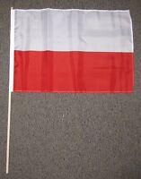 "POLAND FLAG 12X18 INCHES 12"" X 18"" POLISH WOOD STICK NEW W42"