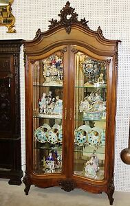 Antique Solid Walnut Country French Louis XV China Cabinet Beveled Glass C1880