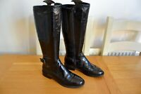 """CLARK """"MARVELOUS SKI"""" BLACK PATENT LEATHER/LEATHER LINED KNEE HIGH BOOTS UK 4.5D"""