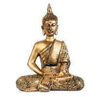 Large Meditating Thai Buddha Statue Tealight Holder Gold Bronze Colour 27cm
