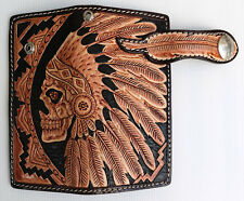 TRIBAL INDIAN SKULL FACE HARLEY MOTORCYCLE GENUINE COWHIDE LEATHER BIKER WALLET