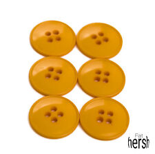 Vintage Lot of 6 Pumpkin Orange Plastic Buttons Made USA  .75""