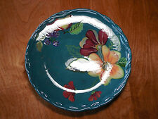 "Tracy Porter BLOSSOM COLLECTION Set of 4 Dinner Plates 11 1/8"" Teal"