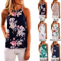 New Women Sleeveless Flower Printed Tank Top Casual Summer Blouse Vest T Shirt