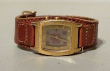 NICE WOMENS FOSSIL BIG TIC FLORAL DISPLAY BROWN  LEATHER BAND WATCH JR 8266