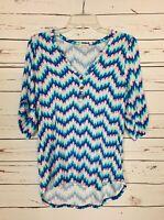 Pixley Stitch Fix Women's M Medium Blue Pink Spring Short Sleeve Top Shirt Tee
