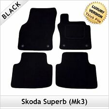 Skoda Superb Mk3 2015 onwards Fully Tailored LUXURY 1300g Carpet Car Mats BLACK