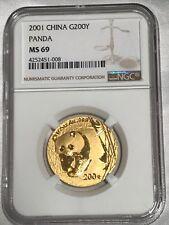 2001 China 200 Yuan 1/2 Oz Gold Panda NGC MS69