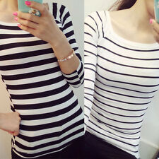 Women's Fashion Long Sleeve Shirt Striped Casual Blouse Slim Autumn Tops T-Shirt
