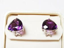 Solid 14k White Gold Amethyst French Clip Omega Back Earrings Trillion Cut 15mm