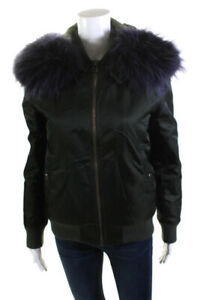 Mr & Mrs Italy Womens Fox Fur-Trimmed Bomber Jacket Green Size Small