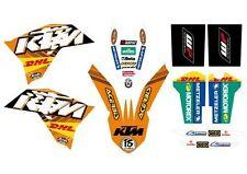 KTM GRAFICHE STICKERS DHL ORANGE EXC 08/11 SX 07/10 CRYSTAL