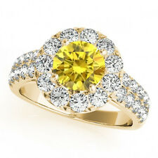 1.50 Carat Yellow Canary Diamond Solitaire Halo Bridal Promise Ring 14k Gold