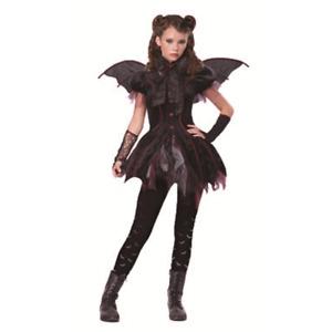 Kids Girl Vampire Fairy Halloween Fancy Dress Gothic Costume Black Skirt Party