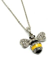 Yellow Enamel Bumble Bee Pendant Necklace Rhinestone Silver Tone