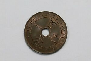 FRENCH INDO CHINA 1 CENT 1909 RARE HIGH GRADE BETTER ON HAND B34 #3876