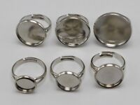 10 Silver Tone Brass Adjustable Ring With Round Blank Cabochon Setting 10mm-20mm
