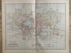 1870 World Ocean Currents & River Basins Chart Antique Map by Edward Weller