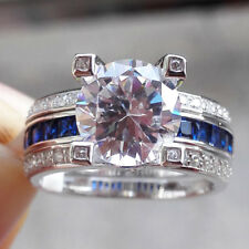Round Cut White Cz Blue Sapphire Sz 9 New listing Wedding Band Engagement Ring Set For Women