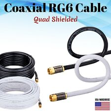 Rg6 Coaxial Digital Cable Quad Shielded Satellite Tv Antenna Coax Dish Video Hd