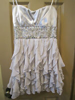SZ S ARDEN B SILVER BEADED STRAPLESS HOLIDAY MINI DRESS, COCKTAIL PARTY NYE, EUC