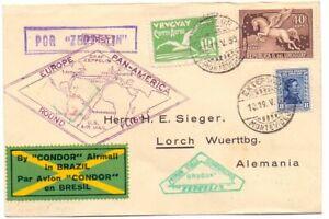 URUGUAY 1930  ZEPPELIN FLOWN  COVER TO GERMANY