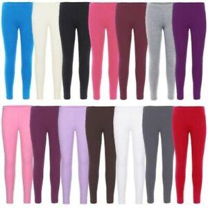 Girls Plain Cotton Leggings Kids Children Teen Basic Stretchy Full Length 3-1