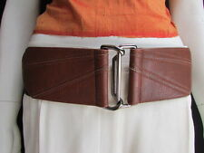 NEW WOMEN WAIST HIP BROWN CUT OUT WIDE ELASTIC FASHION BELT PEWTER BUCKLE S M L