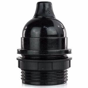 Bakelit Fassung mit Teilgewinde, Lampenfassung E27, mit Klemmnippel