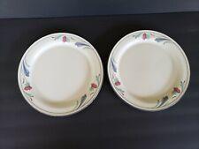 "(2) Lenox Chinastone Dinner Plates - Poppies On Blue - 10 3/4"""