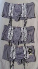 (3) BNWT SIZE 14 CRYSTELLE GREY/PURPLE GARTER BELTS WITH BUILT IN GSTRING