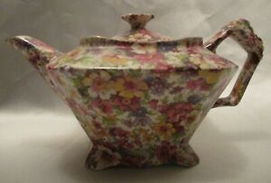 James Kent Ltd. Chintz Teapot & Cover Du Barry Pattern Made In England As Found