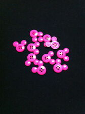 10 Mickey Mouse Hot Pink Plastic Buttons/Four holes /Sewing supplies /10 Buttons