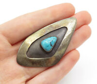 925 Sterling Silver - Vintage Antique Turquoise Two Tone Brooch Pin - BP5068