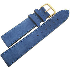 18mm Fluco Royal Blue Suede Leather GOLD Buckle German Made Watch Band Strap Men