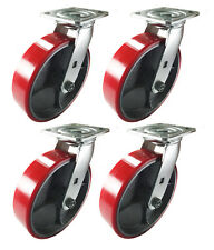 "8"" x 2"" Red Polyurethane on Cast Iron Casters -  4 Swivels"