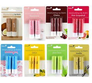 2 x Pretty Lips Long Lasting Moisturising Flavoured Lip Balm Stick Lip Care