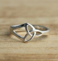 Solid 925 Sterling Silver Celtic Ring Trinity Knot Ring Triquetra Various Sizes