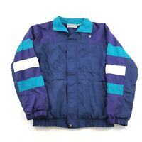 Vintage 80s 90s Windbreaker Track Jacket Color Block Striped Mens Size medium